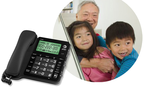 Corded senior-friendly telephones
